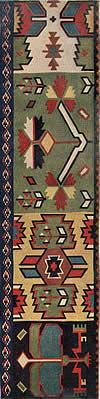 19. Фрагмент ковра — пэретара с крупными растительными и геометрическими мотивами на расчлененном фоне